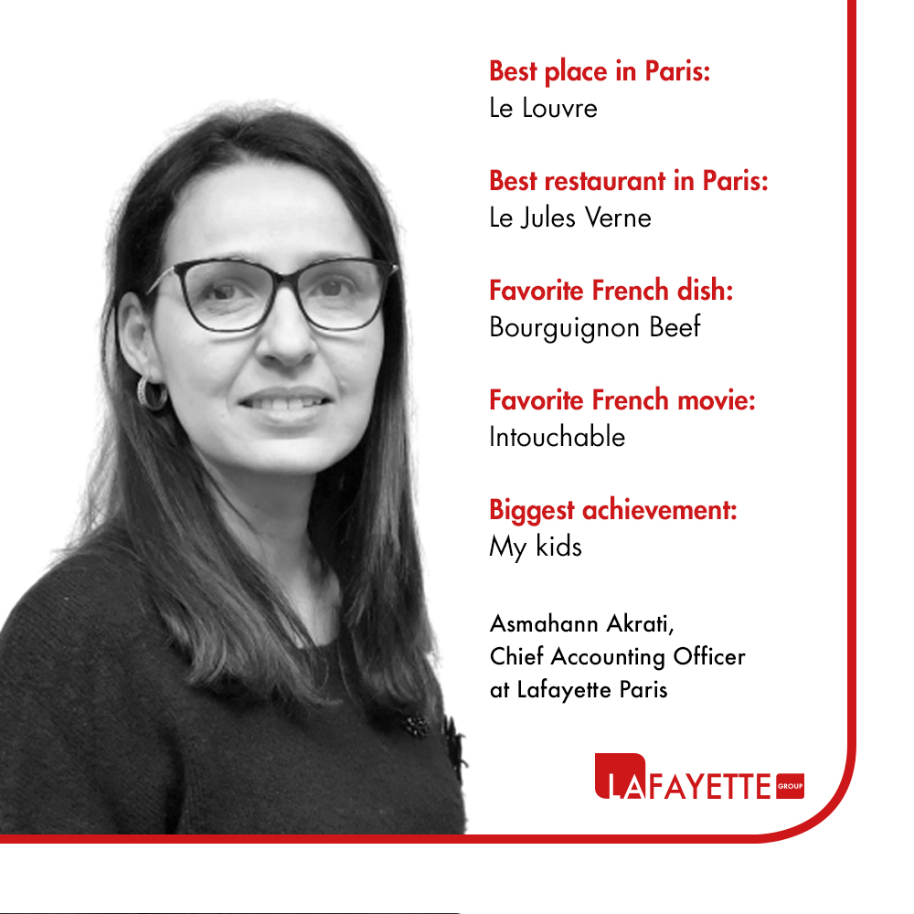 Meet with Asmahann Akrati, Chief Accounting Officer at Lafayette Paris.